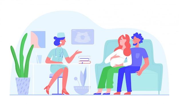 De zwangere vrouw bezoekt artsenillustratie, mensen van het beeldverhaal de vlakke gelukkige paar bij het medisch onderzoek in het ziekenhuis, prenatale geneeskunde die op wit wordt geïsoleerd