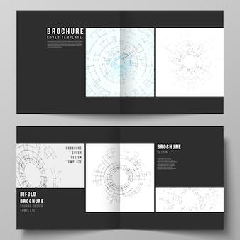 De zwart gekleurde lay-out van twee omslagsjablonen voor tweevoudige brochure met vierkant ontwerp, flyer, boekje. netwerkverbinding concept met verbindingslijnen en punten.