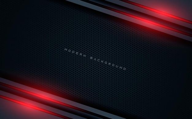 De zwarte abstracte diagonale achtergrond van overlappende lagen met rood lichtdecoratie
