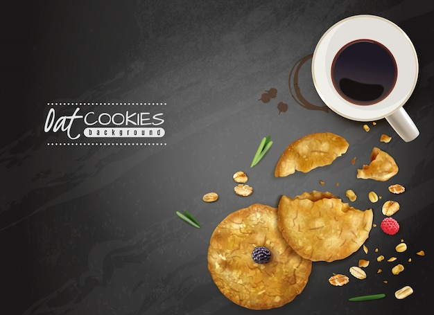 De zwarte achtergrond van haverkoekjes met hoogste meningskop van koffie en kruimeltaartkoekjes en bessenillustratie