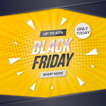 De zwarte banner van de vrijdagverkoop met gele achtergrond