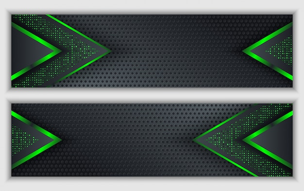 De zwarte groene abstracte collectieve banner met gloeiend neon schittert technologieachtergrond