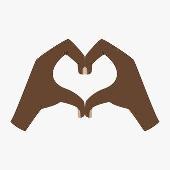 De zwarte handen vertegenwoordigen het hart met een gebaar. een symbool van liefde. menselijke handen. vlakke afbeelding