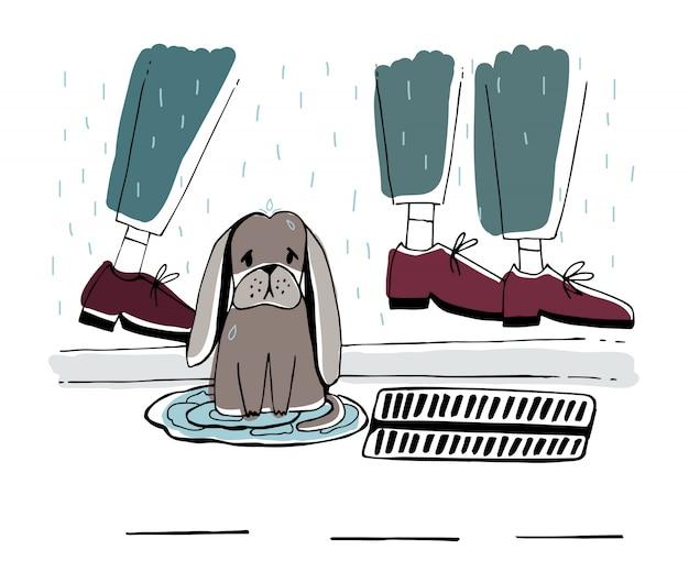 De zwerfhond op straat. dakloze pup met trieste blik onder regen. hand getekende illustratie.