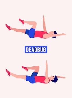 Dead bug-oefening mannen trainen fitness aerobics en oefeningen