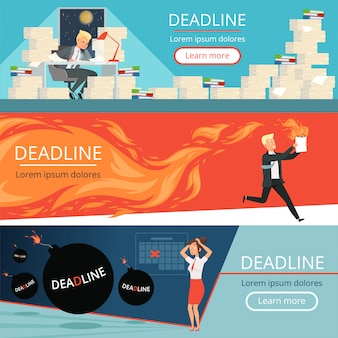 Deadline banners. werkdruk kantoormanagers werken burnout in haast overbelasting stripfiguren van zakelijke persoonlijke bestuurders