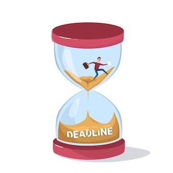 Deadline concept zaken man zinken in sand watch
