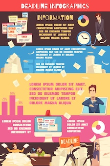 Deadline druk cartoon infographic