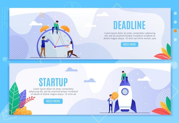 Deadline en startup zakelijke kopbanners instellen