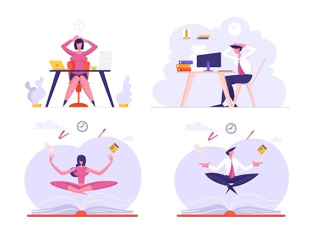 Deadline en zakelijke meditatieset ondernemers overladen met werk met stress