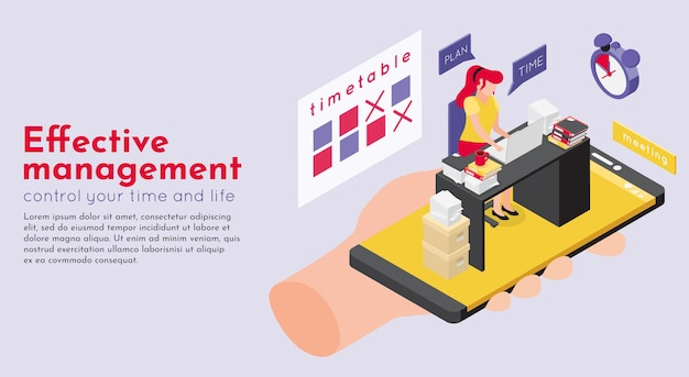 Deadline isometrische illustratie van het tijdschema van de werkruimte en menselijke hand