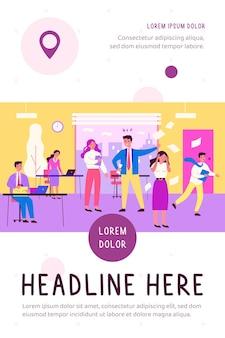 Deadline mislukking en kantoor chaos concept vlakke afbeelding