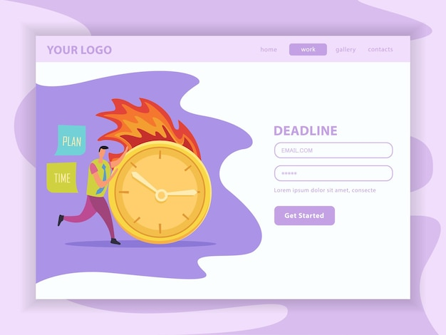 Deadline platte bestemmingswebpagina met gebruikersaccount