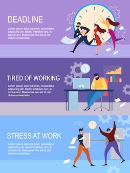Deadline, stress op het werk, moe van het werken cartoon people