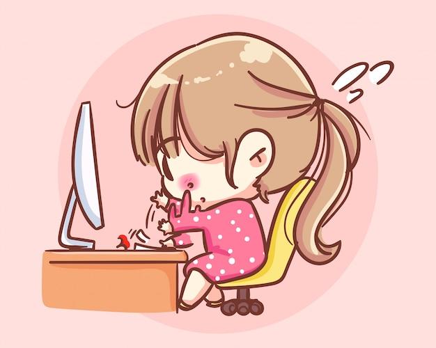 Deadline voor kantoor. zakelijke meisje werkt aan computer cartoon kunst illustratie premium vector