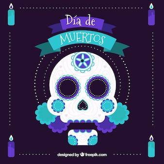 Deads 'dag achtergrond met mexicaanse decoratieve schedel