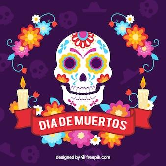 Deads 'dag achtergrond met schedel en decoratieve kaarsen