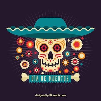 Deads 'dag achtergrond met schedel en mexicaanse hoed