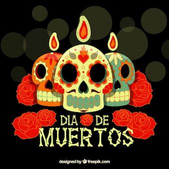 Deads 'dag achtergrond met schedels en bloemen kaarsen