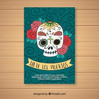 Deads 'dag met de hand getekende mexicaanse schedel