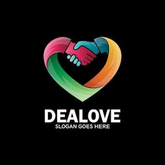 Deal love-logo, hartlogo met twee handen die elkaar schudden