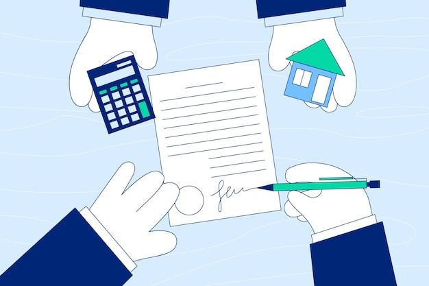 Deal van het kopen, huren of leasen van accommodatieconcept.