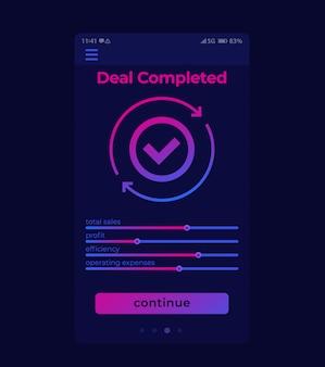 Deal voltooid, mobiele gebruikersinterface, app-ontwerp