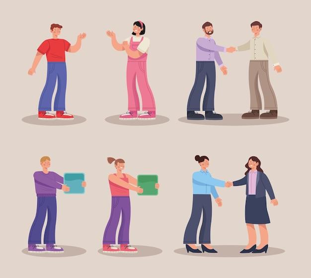 Deal zakelijke werknemers karakters