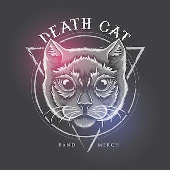 Death cat-illustratieontwerp voor bandkoopwaar