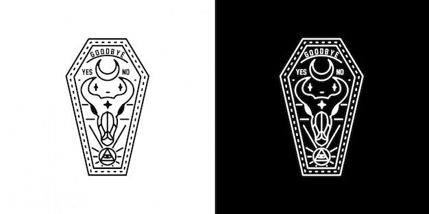 Death coffin monoline design