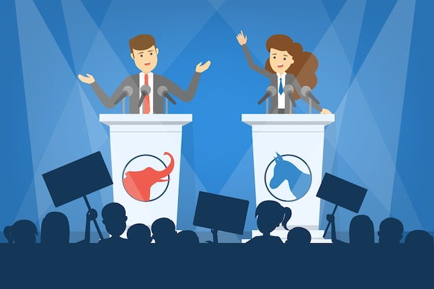 Debat concept. kandidaat voor president bij de tribune. politieke toespraak. presidentiële verkiezingen. illustratie in cartoon-stijl