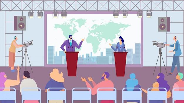 Debat van kandidaten voor politieke partijen, verkiezingscampagne, stripfiguren van mensen, illustratie