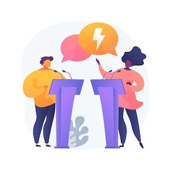 Debatteren club abstract concept illustratie. klasdebatten, welsprekende toespraak, debatwedstrijd, schoolclub, lessen spreken in het openbaar, effectieve communicatieve vaardigheden