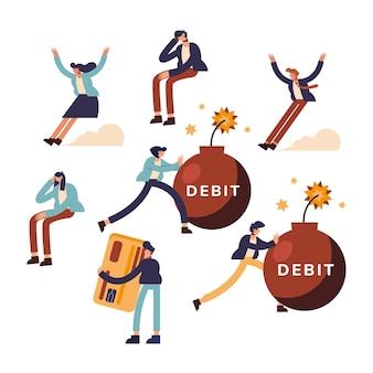 Debet en mensen icoon collectie van geld financiële zaken bankwezen handel en markt thema illustratie
