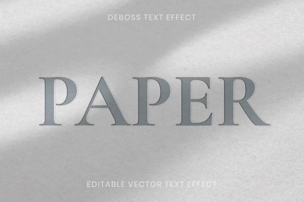Deboss teksteffect vector bewerkbare sjabloon