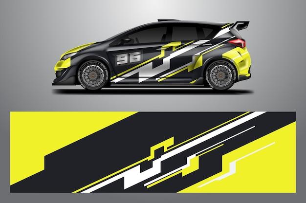 Decal car wrap design vector grafische abstracte streep racing achtergrond voor voertuig