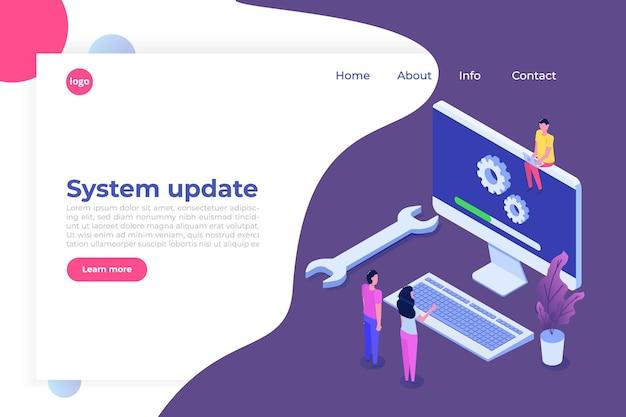 Decktop system update vlakke stijl concept