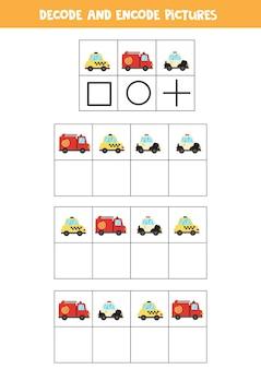 Decodeer en codeer afbeeldingen. schrijf de symbolen onder schattig cartoontransport.