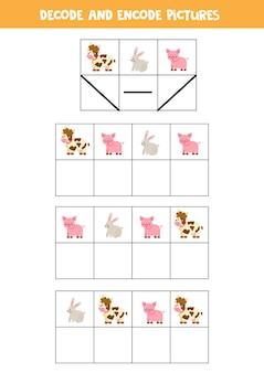Decodeer en codeer afbeeldingen. schrijf de symbolen onder schattige boerderijdieren.