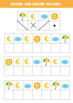 Decodeer en codeer afbeeldingen. schrijf de symbolen onder schattige weerelementen.