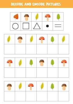 Decoderen en coderen van afbeeldingen. schrijf de symbolen onder schattige herfstbladeren.