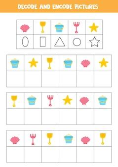 Decoderen en coderen van afbeeldingen. schrijf de symbolen onder schattige zomervoorwerpen.