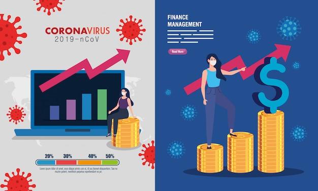 Decor, financieel management herstel van de markt na covid-19, zakenvrouwen