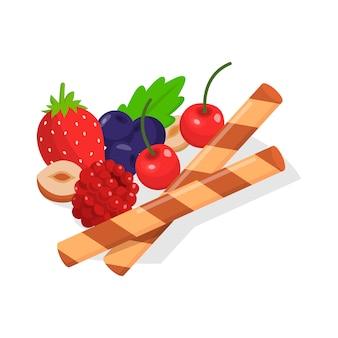 Decor voor voedsel zoals fruit, bessen, noten, koekjes.