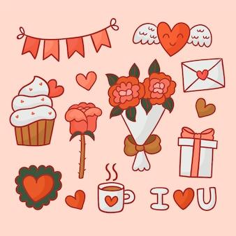 Decoratie en objecten voor een gelukkige valentijnsdag