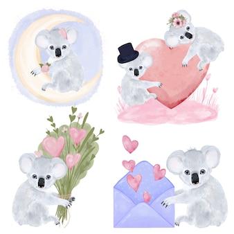 Decoratie set koala's met geschenken