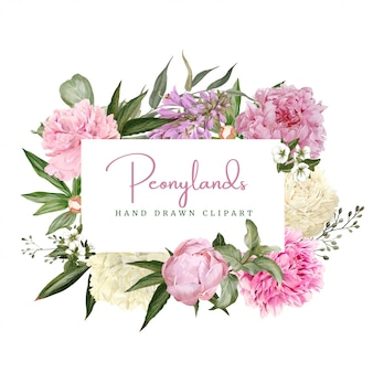 Decoratief aquarel bloemen frame, witte en roze pioenrozen