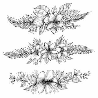 Decoratief bloemen decorontwerp schets