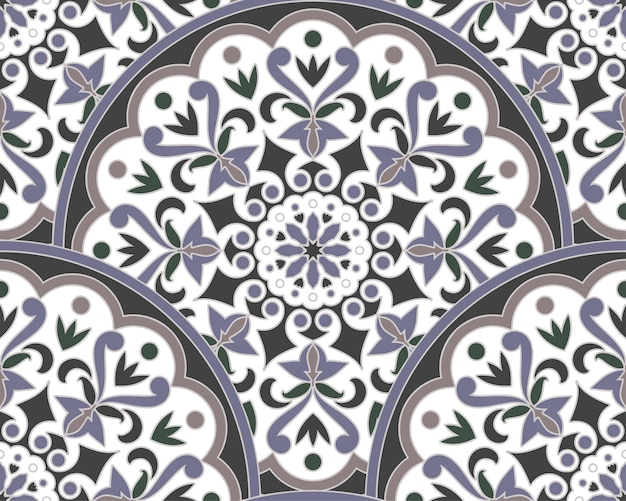 Decoratief bloemenmandalapatroon maleisië en indische stijl