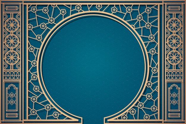 Decoratief chinees vensterpatroon op blauwe golvende achtergrond